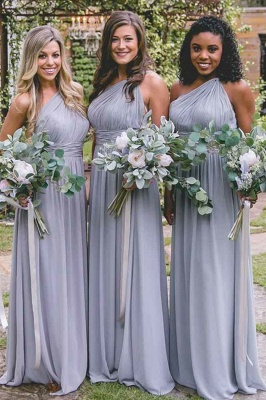 New One-Shoulder Fit Lavender Purple Floor Length Bridesmaid Dresses | Elegant Sleeveless Long Maid Of Honor Dresses_2