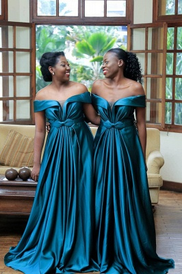 Sexy New Off-shoulder Sweep Train Bridesmaid Dresses With Bow Belt | Long Blue Wedding Party Dresses_3