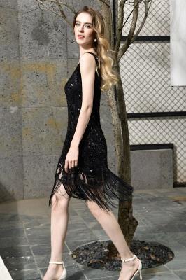 Arda | Vestido de fiesta de cóctel corto con lentejuelas y cuello en V negro_4