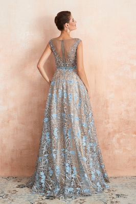 Celandine | Expensive Cap Sleeve See-through Prom Dress with Sky Blue Appliques, Unique Luxury Design Long Evening Dress Online_3