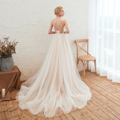 Illsuion neck Champange Wedding Dress with Chapel Train | Sleeveless Summer Bridal Gowns Online_15