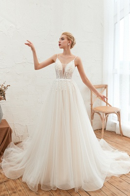 Summer Spaghetti Straps Plunging V-neck Champange Wedding Dress | Sexy Low Back Bridal Gowns Online_11