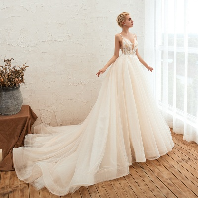 Boho Spaghetti Straps Ivory Ball Gown Wedding Dress | Romantic Bridal Gowns for Sale_11