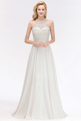 Modest Pink Pears Beaded A-line Halter Bridesmaid Dresses_6