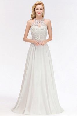 Robes de demoiselle d'honneur licou A-ligne de perles de poires roses modestes_6