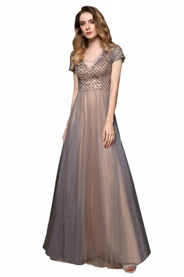 Aria | Stunning Short Sleeves Squared Sequined Tulle Luxury Prom Dress_1