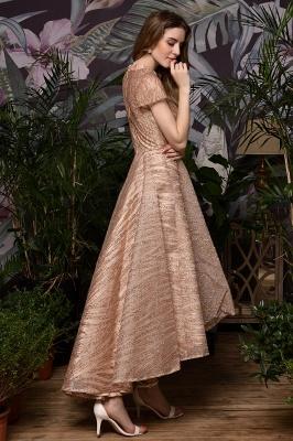 Ardolf | High neck Short Sleeve Champange Sequined High Low Prom Dress_8