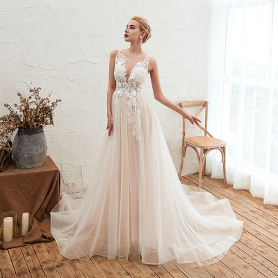 Illsuion neck Champange Wedding Dress with Chapel Train | Sleeveless Summer Bridal Gowns Online_10