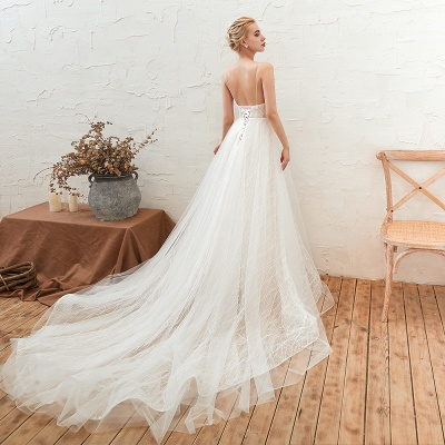 Harlan | Chic Deep V-neck White Tulle Princess Open back Wedding Dress with Court Train_9