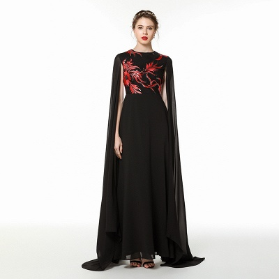 Elegant Black Long Evening Dress with Shawl | Round neck Modest Bridesmaid Dress_6