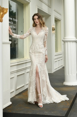Delicate V-Neck High Split Long Sleeves Lace Wedding Dress With Court Train_4