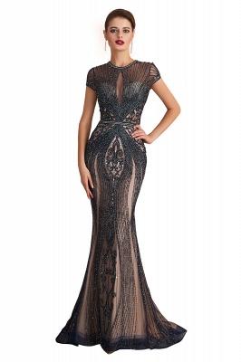 Chloé | Robe de bal en mousseline de soie bleu marine foncé de luxe avec trou clé et manches étincelantes en ligne, belles robes de soirée pour soirée_1