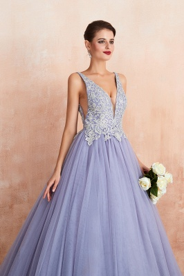 Cerelia | Elegant Princess V-neck Ball gown Lavender Prom Dress with Appliques, Deep V-neck Evening Gowns with Pleats_9