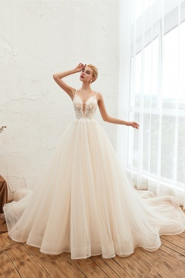 Boho Spaghetti Straps Ivory Ball Gown Wedding Dress | Romantic Bridal Gowns for Sale_9