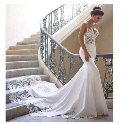 Cheap Spaghetti Strap Lace Wedding Dress Online with Chapel Train | White Bridal Gowns under $200_1