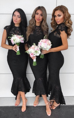 Elegant Mermaid Lace Dress With Cap Sleeves At Ankle Length | Sheath Prom Dresses Zipper Up_3