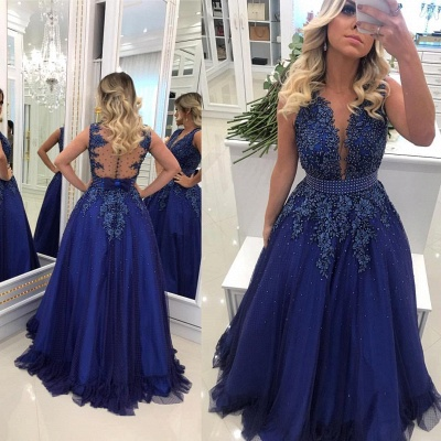 Elegant V Neck Lace Appliqued  Sleeveless Prom Dresses With Bowknot Beads Waistband | Royal Blue Floor Length Beading Evening Gowns_2