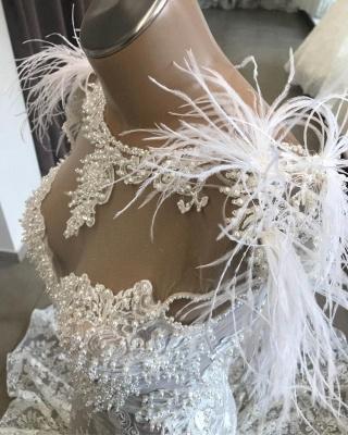 Vestido de novia largo de encaje blanco con espalda abierta de lujo con escote de piel_4
