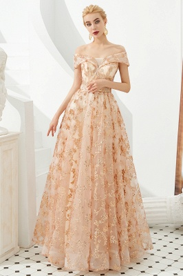 Hale | Romantic Off-the-shoudler Rose Gold Lace-up Tulle Prom Dress with Sparkly Appliques_2