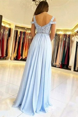 Elegant Off-the-shoulder Low Back Prom dresses with Sexy High Split | Ligh Sky blue Evening Gowns with Lace appliques_3