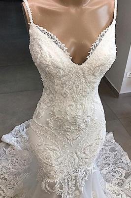 Élégante bretelles spaghetti col en v blanc sans manches sirène robe de mariée dos ouvert avec train chapelle_4
