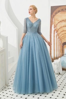 Harold | Discount V-neck Fully beaded 2/3 sleeves A-line Tulle Long Prom Dress_2