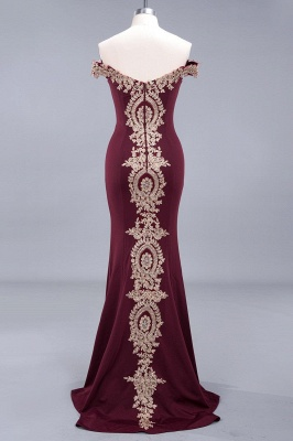 Simple Off-the-shoulder Burgundy Formal Dress with Lace Appliques_19