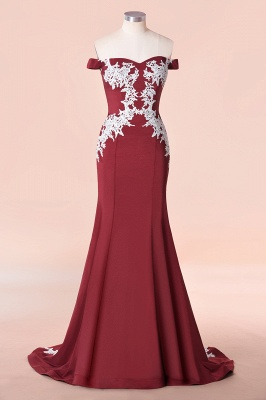Mermaid Off The Shoulder Sweet Heart Lace Appliques Bridesmaid Dresses | Long Burgundy Gowns With Sweep Train_1