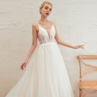 Summer Spaghetti Straps Plunging V-neck Champange Wedding Dress | Sexy Low Back Bridal Gowns Online_14
