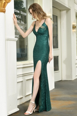 Ardell | Sexy Black Emerald Sequined High Slit Prom Dress Online_8
