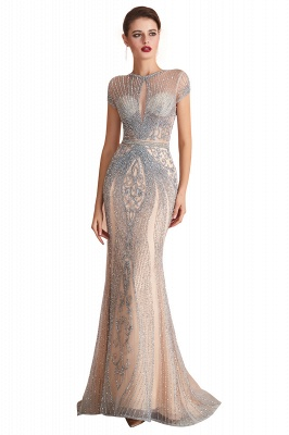 Chloe | Luxury Dark Navy Cap Sleeve Key hole Sparkle Prom Dress Online, Beautiful Champange Dresses for Evening Party_2