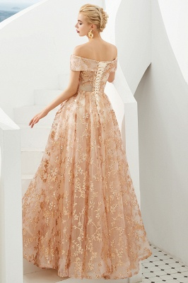 Hale | Romantic Off-the-shoudler Rose Gold Lace-up Tulle Prom Dress with Sparkly Appliques_7