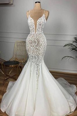 Luxury Spaghetti Strap Plugging V-neck White Sleeveless Mermaid Hollow Wedding Dress_1