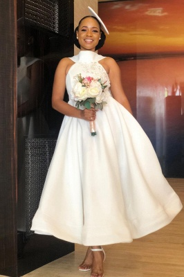 Ankle Length Halter Lace Applique Bridesmaid Dresses With Big Bow At Back | A-line Formal Wedding Party Dresses_4