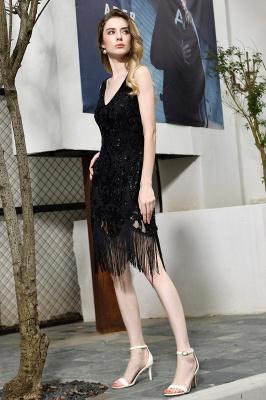 Arda | Vestido de fiesta de cóctel corto con lentejuelas y cuello en V negro_6