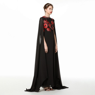 Elegant Black Long Evening Dress with Shawl | Round neck Modest Bridesmaid Dress_4
