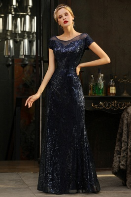 Helen| Long Sequined Cap sleeves Scoop neck Formal dress for Prom_7