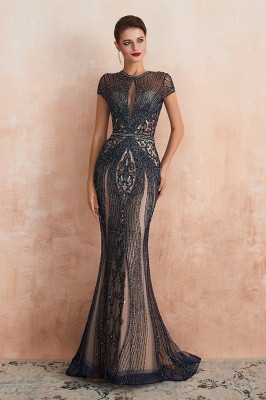 Chloé | Robe de bal en mousseline de soie bleu marine foncé de luxe avec trou clé et manches étincelantes en ligne, belles robes de soirée pour soirée_16