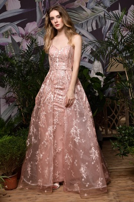 Ardolph | Gorgeous Dusty Pink Spaghetti Strap A-line Lace Prom Dress_4