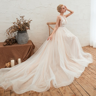 Illsuion neck Champange Wedding Dress with Chapel Train | Sleeveless Summer Bridal Gowns Online_12