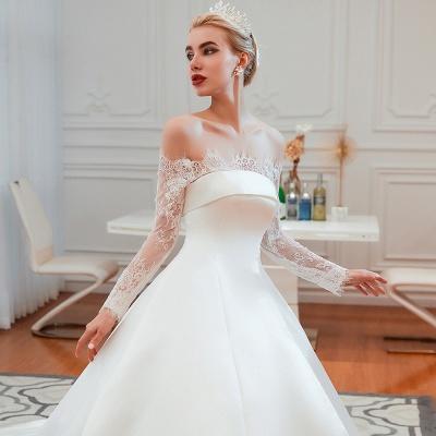 Romántico de encaje de manga larga princesa vestido de novia de satén | Vestidos de novia princesa con tren catedral_20