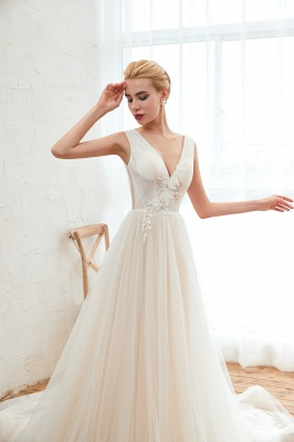 Champange Princess Tulle Wedding Dress with Soft Pleats | Sexy V-neck Low Back Bridal Gowns with Lace Appliques_9