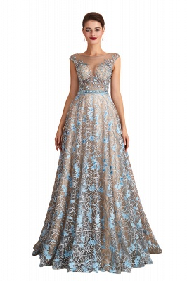 Celandine | Expensive Cap Sleeve See-through Prom Dress with Sky Blue Appliques, Unique Luxury Design Long Evening Dress Online_1