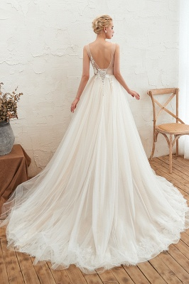 Champange Princess Tulle Wedding Dress with Soft Pleats | Sexy V-neck Low Back Bridal Gowns with Lace Appliques_8