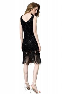 Arda | Vestido de fiesta de cóctel corto con lentejuelas y cuello en V negro_12