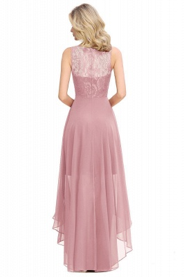 Simple Affordable Sleeveless Burgundy Lace High Low Formal Dress_4