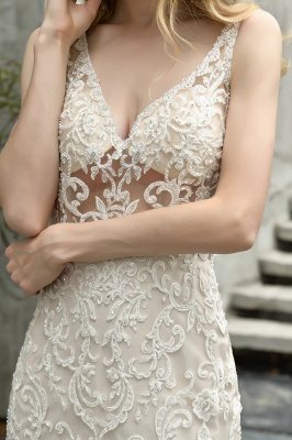 Sexy See-through Lace Mermaid Lace Sleeveless Ivory Wedding Dress with Ruffle Train_5