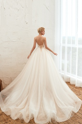 Boho Spaghetti Straps Ivory Ball Gown Wedding Dress | Romantic Bridal Gowns for Sale_4