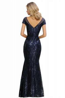 Helen| Long Sequined Cap sleeves Scoop neck Formal dress for Prom_17