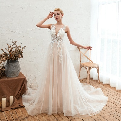 Illsuion neck Champange Wedding Dress with Chapel Train | Sleeveless Summer Bridal Gowns Online_7